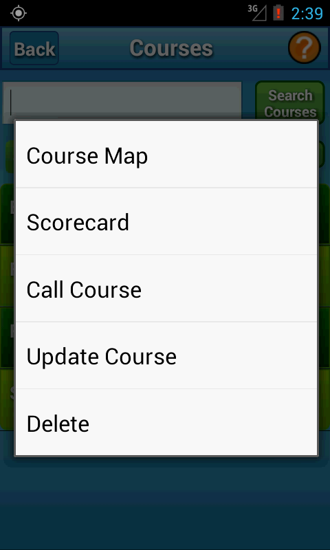 Context Menu for a Course
