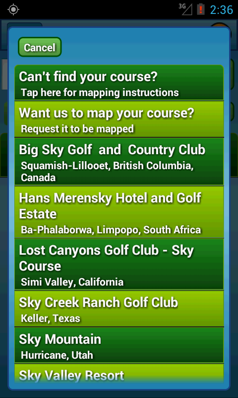 Course search results